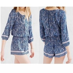 Cope Urban Outfitters Paisley 3/4 Sleeve Romper
